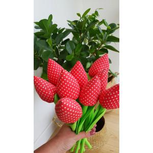 Tulipany czerwone w kropeczki
