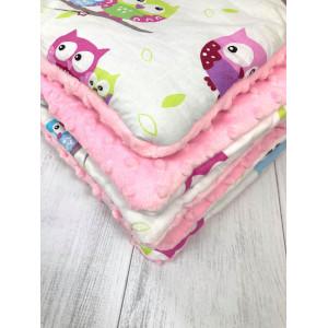 Sówki różowe kocyk + poduszka