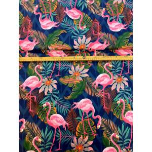 Bawełna Flamingi i liście...